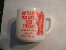 MILK GLASS MUG,  COFFEE CUP, GLASSWARE  ( FIRE HYDRANT VERY KOOL   )