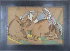 René MENDES-FRANCE 1888-1985.Les lapins.Huile sur panneau.SBD.37x55.Cadre