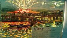 Novelty postcard Transparency Hold to Light Trieste Italy harbor fireworks RARE