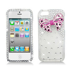 For iPhone 5 5S Dazzling 3D Diamond Rhinestone Ribbon Bow Bling Cover Case Clear