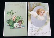 2 Postcards St Patrick Top Of The Morning R Tuck Easter Embossed Unsplit 1906-07