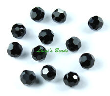 12 Jet Swarovski Crystal  #5000 Round Beads 6mm