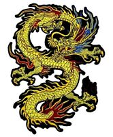 Golden Dragon Patch (23.5 cm x 18 cm) Biker Back Embroidered Iron Sew On Rocker