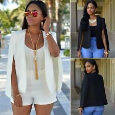Fashion Women's Slim Lapel Cape Sleeveless Business Blazer Suit Jacket Coat