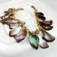 Abalone shell charm bracelet vintage boho jewellery