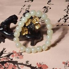 Chinese Xinjiang Hetian Bluish White Jade HandCarved Circle Bead Bracelet Bangle