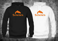 New Simms Fishing Logo Gear Fly Rods logo Black White Hoodies Size XS-XL