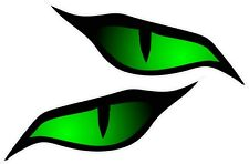 Par De Mal Ojos Grandes De Color Verde Pegatina de vinilo coche moto 140x60mm
