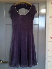***PURPLE DIAMANTE, GLITTERED, FULLY LINED, EVENING DRESS. SIZE 8. BRAND NEW***