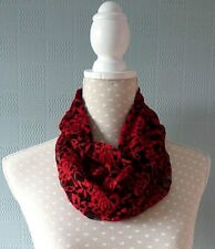 Red and black lace snood stretch loop cowl scarf Christmas gift