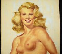 Dibujo Original Firmado (?) Retrato De Huste Joven Mujer Rubio Desnuda c1930