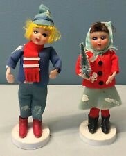 Vintage Poseable Winter Ethnic Christmas Doll Figures Plastic Face Felt Clothes