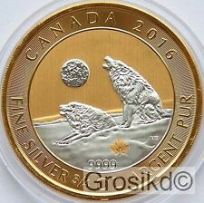 CANADA 2016 $2 HOWLING WOLVES 3/4 Oz SILVER GILDED LIMITED MINTAGE 100 PCS COA