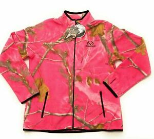Pink Realtree Womens Jacket Large 12-14 Camo Fleece Black Full Zip NWT  Z1