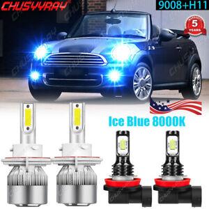 FOR Mini Cooper R56 Clubman R55 8000K LED Headlight High Low Beam+Fog Bulb Light
