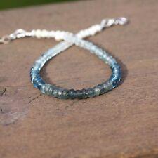Natural Moss Aquamarine  London Blue Topaz Pearl  Zircon Bracelet 14k White Gold