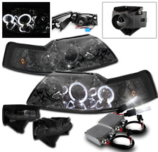 1999-2004 FORD MUSTANG SMOKE HALO PROJECTOR HEAD LIGHT+FRONT FOG LAMP+50W 8K HID