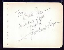 JOSHUA LOGAN Signed on autograph album page- director South Pacific,Mr. Roberts