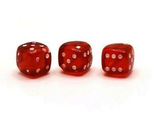 4, 20 or 50 BULK pcs Red Dice Beads Gambler, Las Vegas-US Seller- RD947
