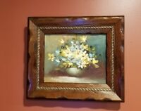 """Antique Framed Oil Painting on Canvas w Flowers Artist Signed 12.25""""x 14.25"""""""