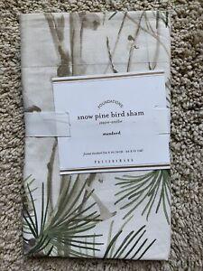 POTTERY BARN Snow Pine Bird Cotton STANDARD Sham - NEW NLA