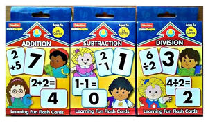 ADD, DIVISION, SUBTRACTION, FLASH CARDS, FISHER PRICE, AGE 5+ Set- 3  NEW!