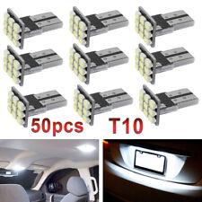 50x Error Free White T10 W5W 168 9SMD LED Car License Plate Light Wedge Bulb USA
