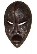 """African Artisan Mahogany Mask Wall Hang 20"""" Hand Carved Intricate Brass Overlay"""