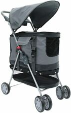 4 Wheel Pet Stroller Cart 3 in1 Dog Pushchair Trolley Puppy Jogger Foldable Grey