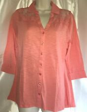 NWT Women Wrangler Coral 3/4 Sleeve Hi Lo Hem Lace Shoulder Button Down  Shirt L
