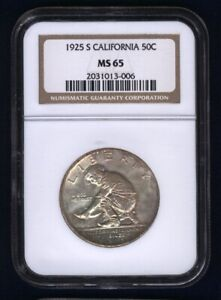 U.S. 1925-S CALIFORNIA HALF-DOLLAR SILVER UNCIRCULATED COIN CERTIFIED NGC-MS65!