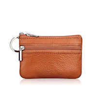 Unisex Women Leather Coin Card Holder Key Ring Wallet Small Pouch Mini Purse Zip