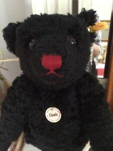 Steiff Classic Teddy Bear Black Mohair Red Nose 005985 Tag GROWLER