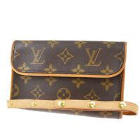 Auth LOUIS VUITTON Pochette Florentine Bum Bag Monogram Leather M51855 72MD593