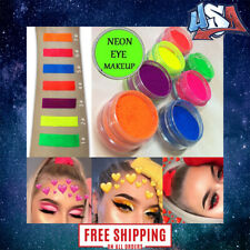 6 Colors Neon Nail Art Pigment Powder Glitter Eyeshadow Cosmetic Makeup Tool Set