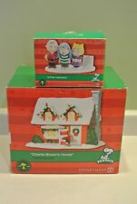 Dept 56 Peanuts Collection Charlie Brown's Lighted House & 3 Part Harmony Lot