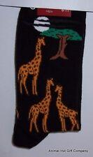 Giraffes on Black Mens/Womens Socks