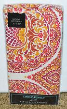 New Cynthia Rowley Set of Four Napkins 100% Cotton Geometric Red Floral