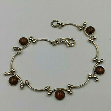 9ct Gold Hallmarked Ladies Cabochon Amber Bracelet.  Goldmine Jewellers.