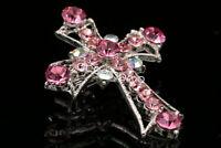 Sparkly peach pink crystal Rhinestone Cross silver plate Crucifix Brooch pin D32