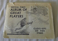 1938 Topical Times Album of Great Players Full 24/24 Cigarettes Cards + Album