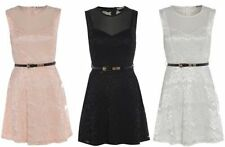 Polyester Dresses for Women with Belt Round Neck