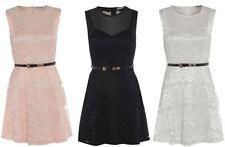 Round Neck Dresses for Women with Belt Midi