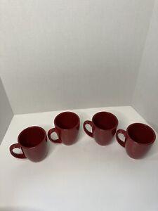 Corelle Coordinates Stoneware Set of 4 Solid Red Glossy Coffee Tea Mugs 12 oz