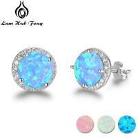 Round Fire Opal Stud Earrings 925 Silver Pink Blue Xmas Gifts For Her Mum Women