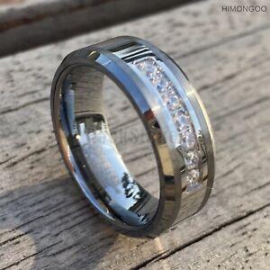 8MM Silver Men Tungsten Carbide Ring AAA Zircon Fiancé Wedding Engagement Band