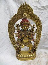 Tibet Buddhism bronze Gild Six Arm VAJRAPANI Mahakala Buddha Statue