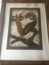 Marie Berger Limited Edition w/Added Copper Metal Applique Art, Signed, Framed
