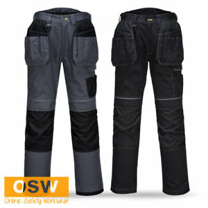 BN Mens Black Grey/Black Multi-Pocket Rugged Work Trouser Pants With Knee Pads