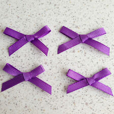 "100 Purple Satin Ribbon Gift Bows 1 1/2"" Appliques Trim Sew Wedding Card Craft"